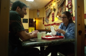 Elili Zarrin of Capitol Hill and  and Michael Z. of Greenlake enjoy late night Gyros at Aladdin Falafel  on the 4500 Block of University Way on Feb. 3, 2014.